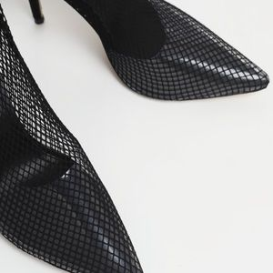 PrettyLittleThing Shoes - Black Thigh High Fishnet Boots